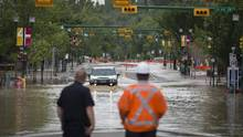 Calgary's Mission neighbourhood flooded in June, 2013, when parts of Alberta experienced massive flooding with billions of dollars in damages. (John Lehmann/The Globe and Mail)