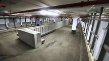 Originally approved in 2010, this bicycle parking garage under Nathan Phillips Square is still not open. The garage, which could accommodate close to 200 bikes and would have showers as well, is now slated to open in 2018. (Fred Lum/The Globe and Mail)