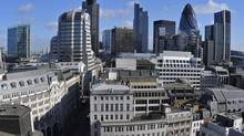 An elevated view of the financial district of the City of London. (TOBY MELVILLE/REUTERS)