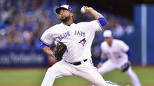 Toronto Blue Jays starting pitcher Francisco Liriano throws against the New York Yankees during first inning in Toronto, on June 2, 2017. (Frank Gunn/THE CANADIAN PRESS)
