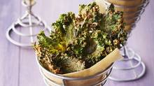 Cheesy kale chips are yummy and healthy.