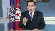 Tunisia's President Zine El Abidine Ben Ali addresses the nation in this image taken from video. (Tunisian State TV/Reuters)