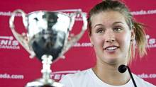 Canadian tennis player Eugenie Bouchard talks about her singles and doubles junior Grand Slam titles at Wimbledon Monday, July 16, 2012 in Montreal. (Paul Chiasson/THE CANADIAN PRESS)