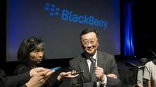 BlackBerry CEO John Chen speaks to reporters following the company's annual general meeting for shareholders in Waterloo, Ont., June 23, 2015. (MARK BLINCH/REUTERS)