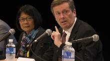 John Tory and Olivia Chow take part in a mayoral debate focused on the arts in Toronto, Monday September 29, 2014 (Mark Blinch For The Globe and Mail)