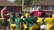 Toronto Mayor Rob Ford coaching the Don Bosco Eagles in Toronto, Sept. 11, 2012. (Peter Power/The Globe and Mail)