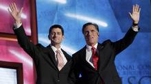 Republican presidential nominee Mitt Romney, right,and vice-presidential running mate Rep. Paul Ryan wave to the crowd after Mr. Romney accepted the presidential nomination during the final session of the Republican National Convention in Tampa, Fla., onAug. 30, 2012. (Shannon Stapleton/REUTERS)