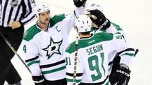 Dallas Stars forward Tyler Seguin (91) celebrates his goal against the Winnipeg Jets with teammates during the second period at MTS Centre. (Bruce Fedyck/USA Today Sports)