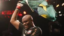Anderson Silva celebrates after defeating Stephan Bonnar at UFC153 (Felipe Dana/The Associated Press)