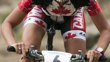 Emily Batty of Brooklin Ont., won a bronze medal at the UCI Mountain Bike World Cup in Val di Sole, Italy on Saturday. (file photo) (Jacques Boissinot/THE CANADIAN PRESS)