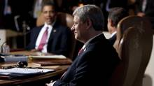Prime Minister Stephen Harper holds a working session with G8 leaders a the the G8 Summit in Huntsville, Ont., on Saturday June 26, 2010. (Sean Kilpatrick/THE CANADIAN PRESS/Sean Kilpatrick)