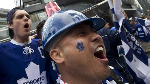 Globe Air Hoist : Fans flood maple leaf square for game the globe and mail