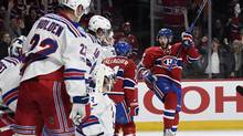 Montreal Canadiens forward Paul Byron (41) reacts after scoring a goal against the New York Rangers during the first period in game two of the first round of the 2017 Stanley Cup Playoffs at the Bell Centre. Mandatory Credit: Eric Bolte-USA TODAY Sports (Eric Bolte/USA Today Sports)
