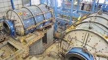 Ball mills installation at Ivanhoe Mines concentrator in Mongolia (Ivanhoe Mines)