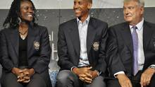 Members of the 2012 class of inductees into the Basketball Hall of Fame, from left, Katrina McClain, Reggie Miller and Don Nelson, sit together during a news conference at the Naismith Memorial Basketball Hall of Fame in Springfield, Mass., Thursday, Sept. 6, 2012. (Jessica Hill/AP)