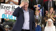 Conservative leader Stephen Harper speaks during a campaign stop at a steel manufacturer in Sault Ste. Marie, September 1, 2015. (Adrian Wyld/The Canadian Press)