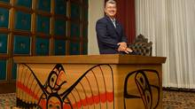 Artist Arthur Vickers has designed and created a Leadership Desk that he is presenting to the Province of BC. Gordon Campbell gets to enjoy the desk, made from reclaimed red cedar in the form of a bentwood box. (ARNOLD LIM/The Globe and Mail)