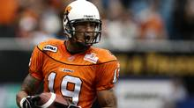 B.C. Lions' Paris Jackson celebrates after scoring a touchdown during second half CFL action against the Toronto Argonauts in Vancouver, B.C., on Saturday October 25, 2008. (DARRYL DYCK/THE CANADIAN PRESS)