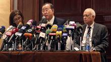 UN Secretary-General Ban Ki-moon, centre, speaks during a news conference with Arab League Secretary-General Nabil Elaraby, right, after their meeting to discuss the situation in Gaza, in Cairo Nov. 20, 2012. (ASMAA WAGUIH/Reuters)