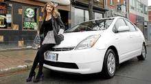 Gemini-award winning actress Helene Joy and her Toyota Prius. (Moe Doiron/Moe Doiron/The Globe and Mail)