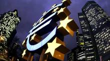 File picture shows the illuminated euro sculpture in front of the European Central Bank's headquarter in Frankfurt. (KAI PFAFFENBACH/REUTERS)