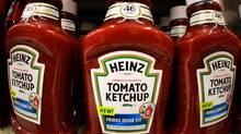 Heinz tomato ketchup product line the shelves of a West Mifflin, Pa., market Thursday, Aug. 31, 2006. (GENE J. PUSKAR/AP)