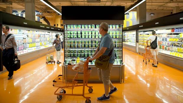 People shop at the Loblaws at Maple Leaf Gardens in Toronto in 2014.