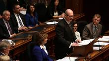 B.C. Finance Minister Michael de Jong delivers a balanced budget for a fifth year in a row at Legislative Assembly in Victoria, B.C. Tuesday, February 21, 2017. (CHAD HIPOLITO/THE CANADIAN PRESS)