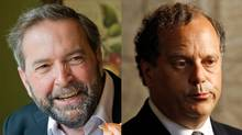 Deputy NDP leader Thomas Mulcair and party president Brian Topp are shown in a photo combination. (The Canadian Press)