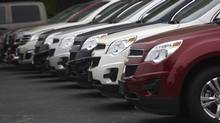 A row of Chevrolet Equinox vehicles at a dealership in the Greater Toronto Area in October, 2014. (Fred Lum/The Globe and Mail)