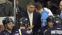 Head coach Claude Noel takes a timeout in the second period during the game against the Ottawa Senators at the MTS Centre on November 29, 2011 in Winnipeg. (Bruce Bennett/2011 Getty Images)