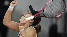 Varvara Lepchenko of the U.S. reacts after defeating Italy's Roberta Vinci during their Fed Cup first round tennis tournament match in Rimini February 9, 2013. (MAX ROSSI/REUTERS)