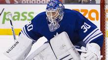 Toronto Maple Leafs goalie Ben Scrivens follows the play along the boards in the first period of their NHL hockey game against the Buffalo Sabres in Toronto March 31, 2012. (Reuters)
