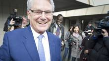 Gordon Campbell jokes with reporters in Vancouver as he leaves his last official scrum as B.C. premier on Feb. 28, 2011. (JOHN LEHMANN/John Lehmann/The Globe and Mail)