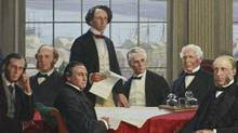 "Sir John A. Macdonald features prominent in a detail from the painting ""The Fathers of Confederation,"" which is on display in the Railway Committee Room on Parliament Hill. (Dave Chan/Dave Chan for The Globe and Mail)"