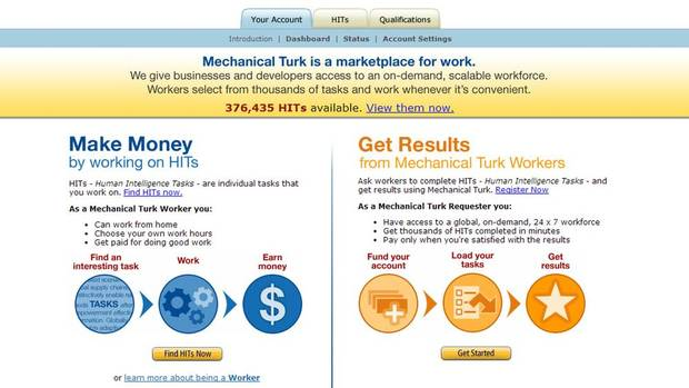 Amazon Mechanical Turk. Amazon's version of a marketplace for work. Find tasks such as testing sites, writing articles, taking surveys, complete them and earn money.
