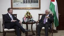 Canadian Foreign Affairs Minister John Baird, left, meets Palestinian president Mahmoud Abbas in the West Bank city of Ramallah on April 6, 2013. (Heidi Levine For The Globe and Mail)