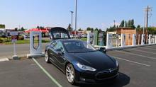 Toronto and Cornwall, Ont., are getting Tesla supercharger stations, similar to this one in Washington State. (Peter Cheney/The Globe and Mail)