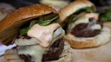 Celebrate Father's Day with burgers topped with spiked mayo and aged cheddar. (Deborah Baic/The Globe and Mail)