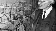 March 14, 1959: Painter Arthur Lismer came back to Toronto from Montreal for the opening of a retrospective exhibition of his work at the Laing galleries. (John Boyd/The Globe and Mail)