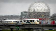 A SkyTrain commuter train travels into downtown Vancouver, B.C., on Wednesday April 11, 2012. (Darryl Dyck/The Globe and Mail/Darryl Dyck/The Globe and Mail)