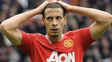 Manchester United's Rio Ferdinand reacts after a missed opportunity during their English Premier League soccer match against Everton in Manchester, northern England April 22, 2012. REUTERS/Nigel Roddis (Nigel Roddis/Reuters)