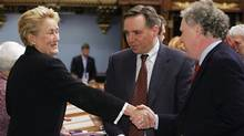 Pauline Marois, Francois Legault and Jean Charest in 2006. (CLEMENT ALLARD/CP)