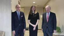 From left: Stephen Heintz, President of the Rockefeller Brothers Fund, Valerie Rockefeller Wayne, the chair of the fund, and Steven Rockefeller, a son of Nelson Rockefeller and a trustee of the fund, in New York, Sept. 16, 2014. The family whose legendary wealth flowed from Standard Oil is planning to announce on Monday that its $860-million philanthropic organization, is joining the divestment movement that began on college campuses. (Hiroko Masuike/The New York Times)