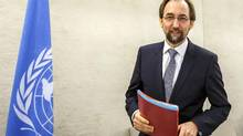 UN High Commissioner for Human Rights Zeid Ra'ad Al Hussein, of Jordan, arrives for the opening of the 33rd session of the Human Rights Council, at the European headquarters of the United Nations in Geneva, Switzerland, Tuesday, Sept. 13, 2016. (Salvatore Di Nolfi/AP)