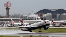 A British Airways aircraft takes off from Heathrow airport in London on April 20, 2012. Waiting times in queues at Heathrow in April have led to many complaints. (Chris Ratcliffe/CHRIS RATCLIFFE/BLOOMBERG)