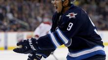 Winnipeg Jets' Evander Kane injured his leg during a Wednesday practice. The seriousness of the injury is not yet known. (file photo) (TREVOR HAGAN/THE CANADIAN PRESS)