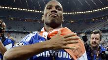 Didier Drogba of Chelsea celebrates after his team's Champions League final soccer match against Bayern Munich at the Allianz Arena in Munich, May 19, 2012. (DYLAN MARTINEZ/Reuters)
