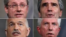 A combination photo shows Canada's Prime Minister Stephen Harper (clockwise from top left), Liberal leader Michael Ignatieff, Bloc Quebecois leader Gilles Duceppe and New Democratic Party leader Jack Layton speaking during separate news conferences in the foyer of the House of Commons on Parliament Hill in Ottawa March 23, 2011. (CHRIS WATTIE/Chris Wattie/Reuters)