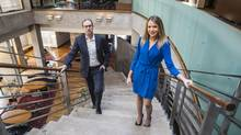McKinsey & Co. consultant Laura McGee poses with her sponsor, Blackrock executive Mark Wiseman. (Mark Blinch/The Globe and Mail)